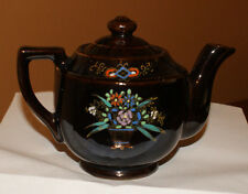 Vintage  Tea Pot, Small Brown Glazed with Floral Design, Made In Japan