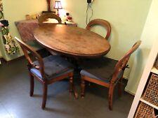 Antiker Massivholz Küchentisch Tisch oval Bauerntisch Landhaus inkl. 4 Stühle