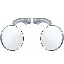 "3"" Chrome Curved Arm Peep Side Door Glass Mirror Outside Rear View Hot Rod Pair"