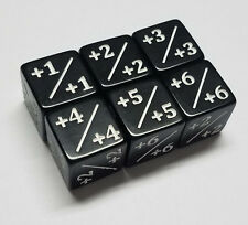 6x Black quEmpire Counter Dice +1/+1 to +6/+6 for Magic: The Gathering CCG MTG