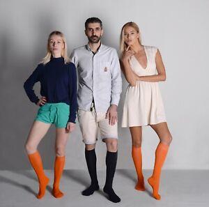Mysocks Unisex Knee High Socks Plain, Combed Cotton, Seamless Toe