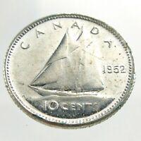 1952 Canada Ten Cents Silver Dime Canadian Uncirculated Elizabeth II Coin M630