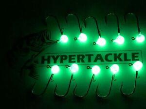 Hypertackle 1/16 1/8 1/4 3/8 oz jig heads ULTRA glow paint crappie walleye rig