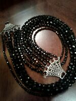 JET BLACK FACETED BEADED SIX STRAND NECKLACE WITH GORGEOUS DECORATIVE CLASP