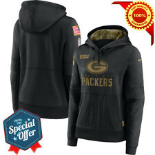 Green Bay Packers Black 2020 Salute to Service Performance Pullover Hoodie