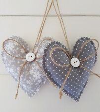 Handmade fabric Hanging Hearts 9.5 cm Set of 2 Silver/Grey.
