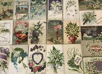 Pretty Lot of 20 Vintage Greetings Postcards w. Lily of the Valley Flowers-b79