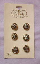 """New Old Stock - LA MODE Vintage 3/8"""" Dainty Gold Metal Filigree Buttons"""