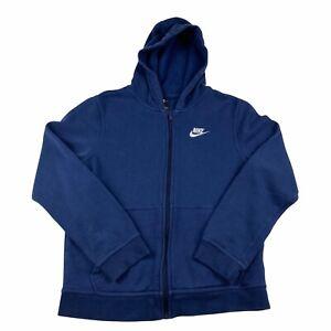 Nike Boys L 14-15 Blue Full Zip Fleece Hoodie Sports Casual Wear