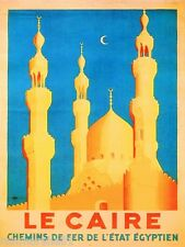 Cairo Egypt Le Caire French France Vintage Travel Art Advertisement Poster