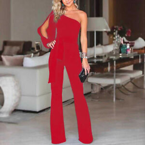 Womens Sexy One Shoulder Long Sleeve Loose Rompers Overall Formal Party Jumpsuit