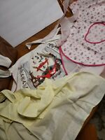 Vintage Half Aprons Lot Of 3 White Pink Yellow Sheer Lace Heart Italian