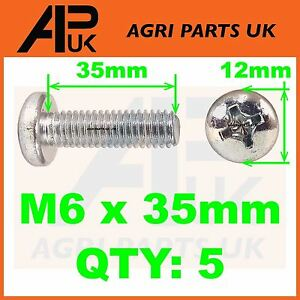 Pack of 5 x M6 x 35mm Steel Pozi Pan Head Machine Screws Pozidrive Bolts Posi