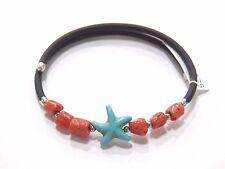 Bracciale regolabile caucciù argento 925 corallo rosso portafortuna DONNA stella