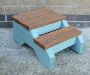 step stool wooden steps rustic garden plant pot stand