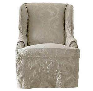 SURE FIT Matelasse Damask washable Wing Chair Slipcover Color: linen  NEW