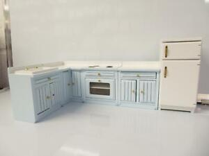 Damaged Dolls House Pale Blue Fitted Kitchen Furniture Set  Units & Appliances