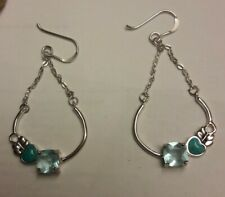 """Studio Barse Silver Overlay Bronze Blue Topaz Turquoise Heart 2"""" Dangle Earrings"""