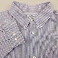 Eddie Bauer Men's Button Up Legend Wash Shirt Long Sleeve Large Striped Blue