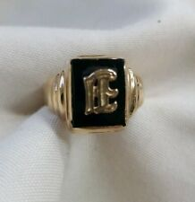 10k yellow gold black onyx with old English E initial size 5.5