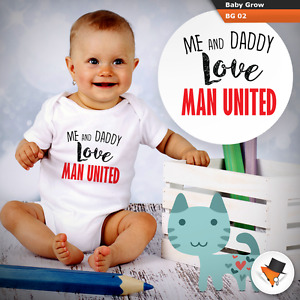 ME AND DADDY LOVE MAN UNITED BABY GROWS SUIT boys bodysuit man UTD VEST NEW P&P