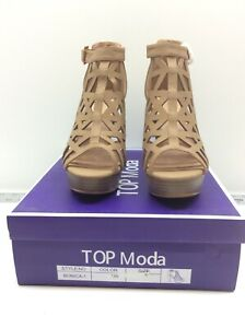 Top Moda Women's Bonica 1 Tan Cut Out Stacked Caged Style Heel Size 8.5