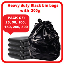 More details for extra strong black heavy duty bin liners bags rubbish waste refuse sacks 200g uk
