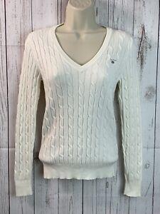 GANT Women's Cable Knit Stretch Cotton V-Neck Jumper Sweater   XS   Cream