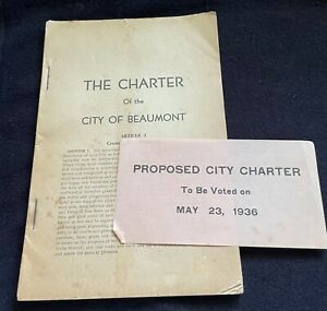 Vintage Rare1936 Proposed Charter for the City of Beaumont, Texas 1930s NO MAPS
