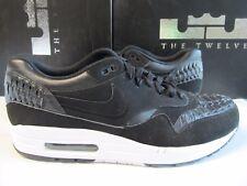 b83f9af9bb32 New Nike Air Max 1 Woven Black Dark Grey 12 725232 001 AM1 90 95 2015