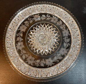 """AMERICAN BRILLIANT CUT GLASS 10"""" DIAMETER TRAY/PLATE TUTHILL SIGNED"""