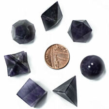 7 Amethyst Platonic Solids + Keepers Pouch Sacred Geometry Crystal Healing