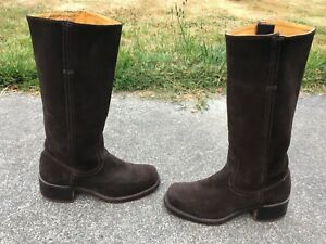 VINTAGE FRYE U.S.A. 77054 LADIES CHOCOLATE SUEDE LEATHER CAMPUS BOOTS SIZE 7 B