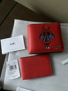 COACH Spider-Man Marvel 3-In-1 Men's Wallet Leather NWT!