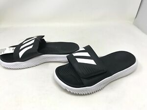 Mens Adidas (BA8775) ALPHABOUNCE Black/White Slides (416E)
