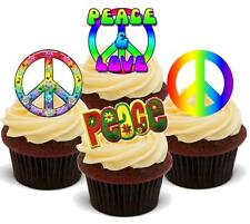 Novedad Peace & Love Mix 12 Stand Up Comestible Cake Toppers Cumpleaños Hippie 60's CND