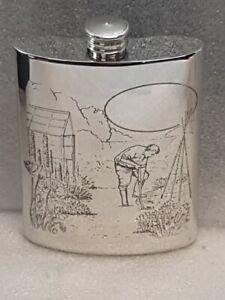 6 oz Pewter Gardening Hip Flask