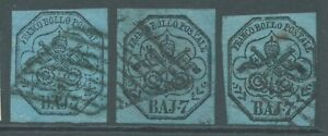 PAPAL STATES 1852 SG25 7b x 3 - 2 good to fine used - 1 repaired
