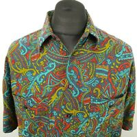 RETRO Mens Vintage Shirt Crazy 80s 90s 42 LARGE Blue RELAXED Abstract Viscose