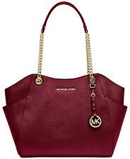 Michael Kors Jet Set Travel Large Shoulder Tote Handbag Cherry/Gold NWT
