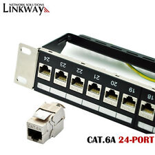 Cat.6A 24-Port Shielded Patch Panel - Incl. 24pcs Cat.6A Shielded Keystone Jacks