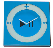 Wanduhr Mp3 Player iPod Nano Design Blau/Weiß Wand Uhr Uhren Kunststoff Analog