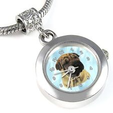 Shar-Pei Dog Silver Quartz Watch European Spacer Charm Bead For Bracelet EBA95