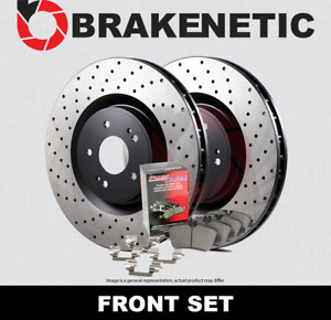 [FRONT] BRAKENETIC PREMIUM DRILLED Brake Rotors+POSI QUIET CERAMIC Pads BPK85950