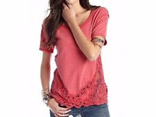 126387 NEW Free People The Stone Tee Crochet Lace High & Low Pink Blouse Top XS