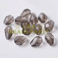 New 50pcs 7X5mm Teardrop Faceted Crystal Glass Spacer Loose Beads Light Brown