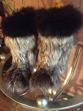 GORGEOUSE SILVER  FOX  NATURAL FUR   WOMEN BOOTS SZ 7,5