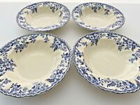 Johnson Brothers Devon Cottage Set of Four Rim Soup Bowls, Blue and White Bowls