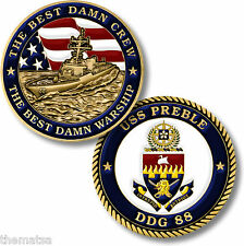 "NAVY USS PREBLE DDG-88  THE BEST DAMM CREW WARSHIP 1.75"" CHALLENGE COIN"