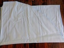 """LIGHT BLUE FABRIC TABLECLOTH 68"""" x 50"""" Oval Cable Knit Stripes Linen Vintage"""